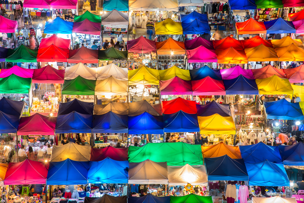 Colorful night market.